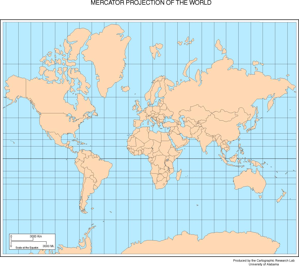 mercator projection By just plotting the data as we have done for fig 2, we have the equirectangular projection with constant spacing between the latitudes and meridians.