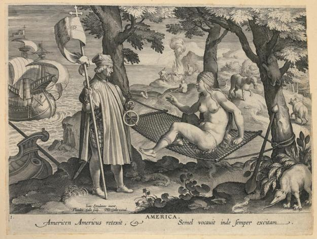 Amerigo Vespucci Discovers America, after Jan van der Straet