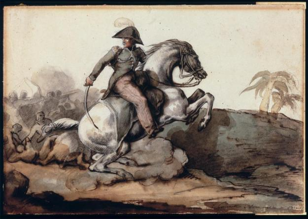 Colonel Louis Bro (1796--1844) on horseback, in the foreground of a battle in Saint-Domingue