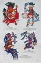 Codex Borbonicus 28 Aztec Gods- Xipe Totec, Huitzilopochtli, Chalichiuhlicue and Tlalec