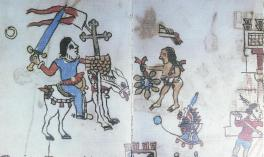 Cortes Arriving in the New World drawing by anonymous Aztec artist