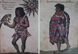 lt) Aztec man at court of Chas. V. rt) An Aztec nobleman at court of Charles V