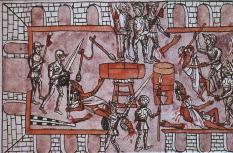 Massacre of Aztec Chiefs at Tenochtitlan Codex of Diego Duran