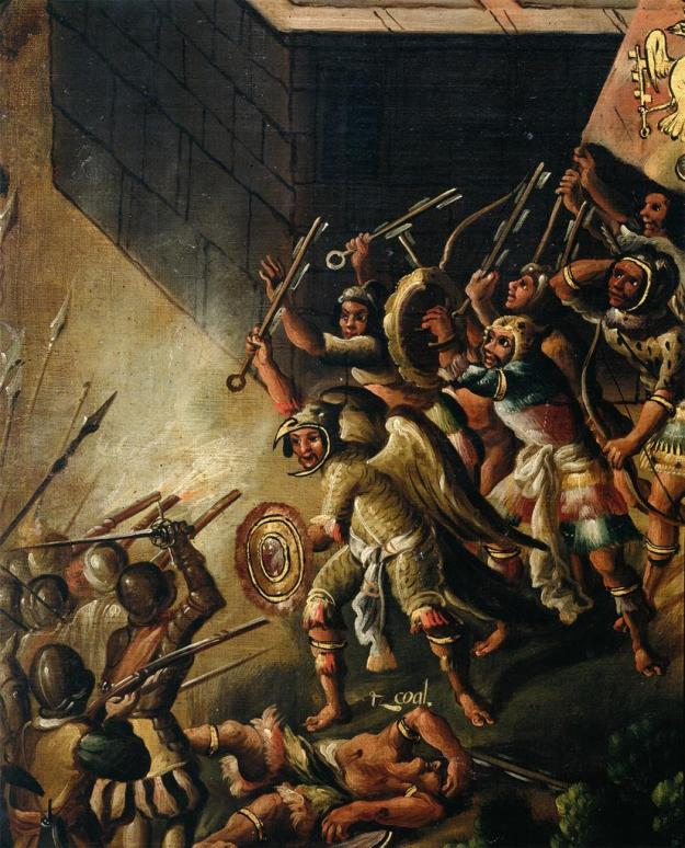 Scenes of the Spanish Conquest- Battle between Aztec and Spanish Soldiers.jpg
